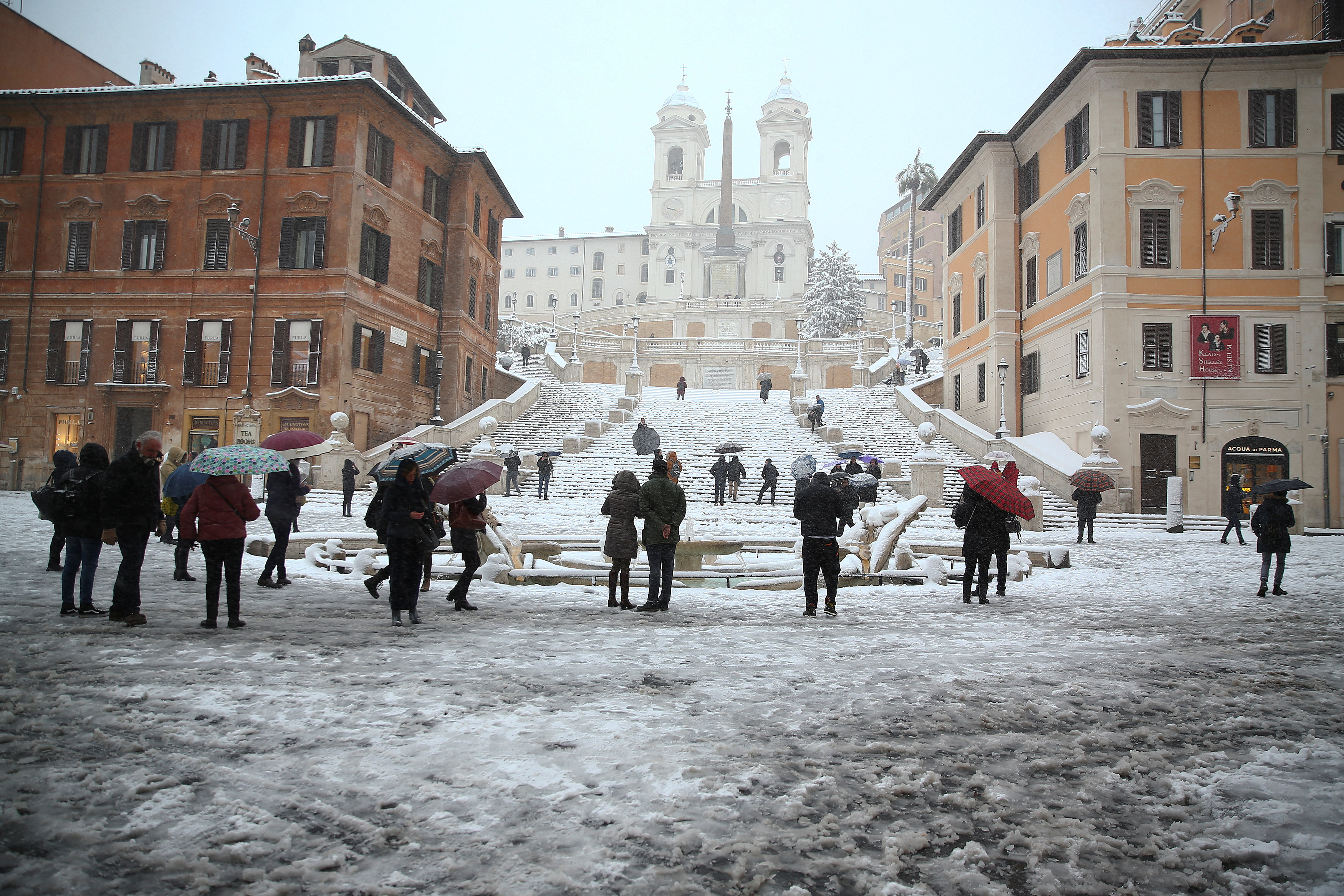 Spanish Steps are seen during a heavy snowfall in Rome, Italy February 26, 2018. REUTERS/Alessandro Bianchi